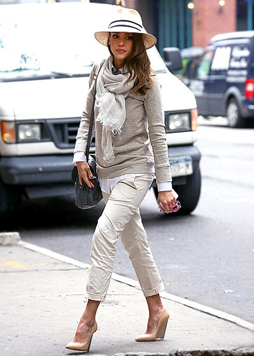 In Honor Of Design: For a Fraction: Jessica Alba's Neutral Layered Look. My interpretation, http://librarianforlifestyle.wordpress.com/2012/09/19/neutral-layers-inspiration/