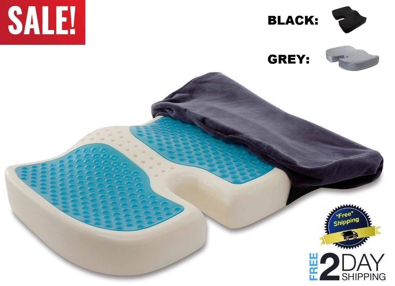 Seat cushion gel pillow cooling coccyx prostate hemorrhoid pain