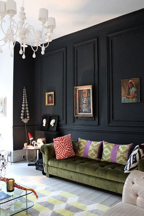 20 Accented Walls Interiorforlife Black Feature Wall Olive Green Velvet Chesterfield