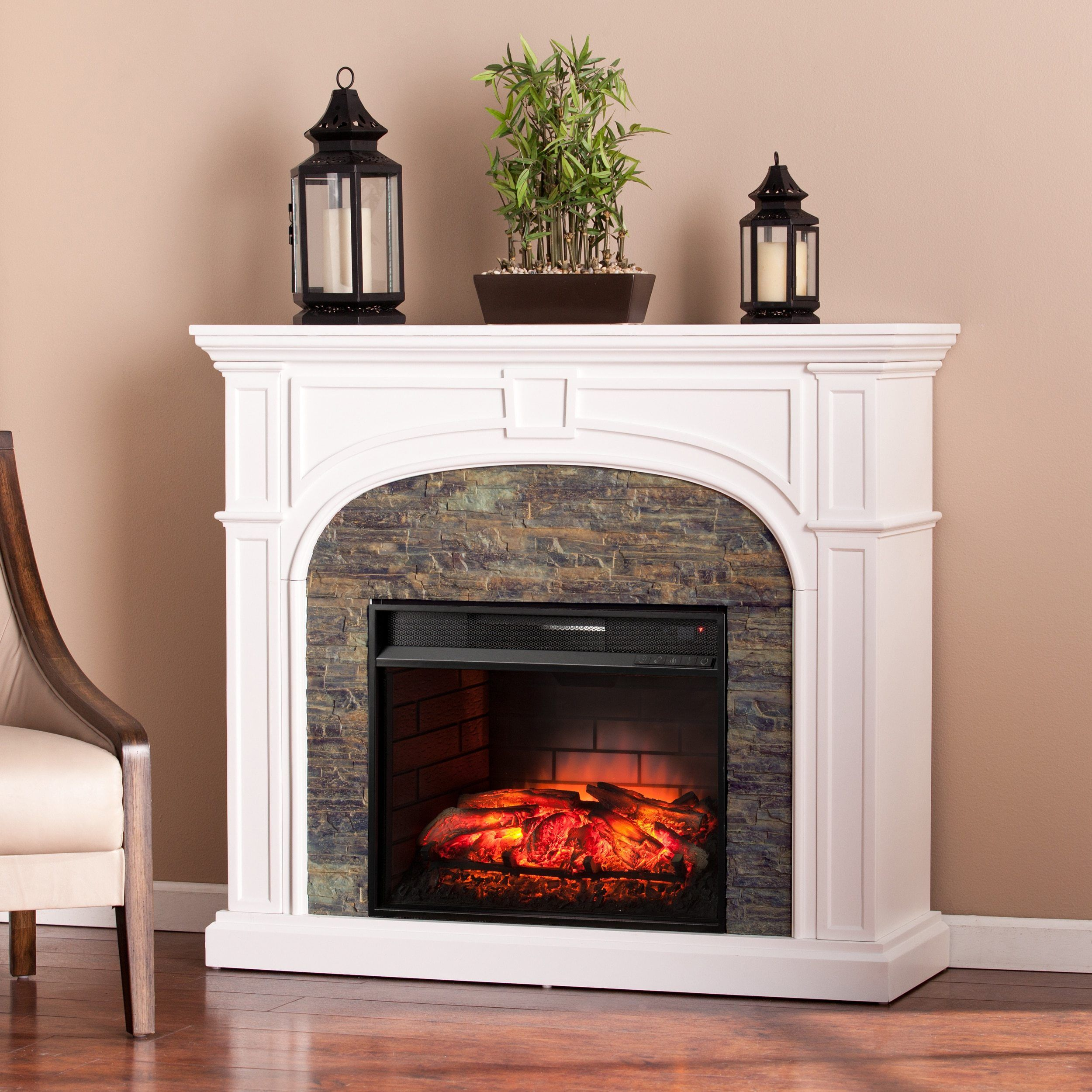 White Stacked Stone Effect Infrared Electric Fireplace