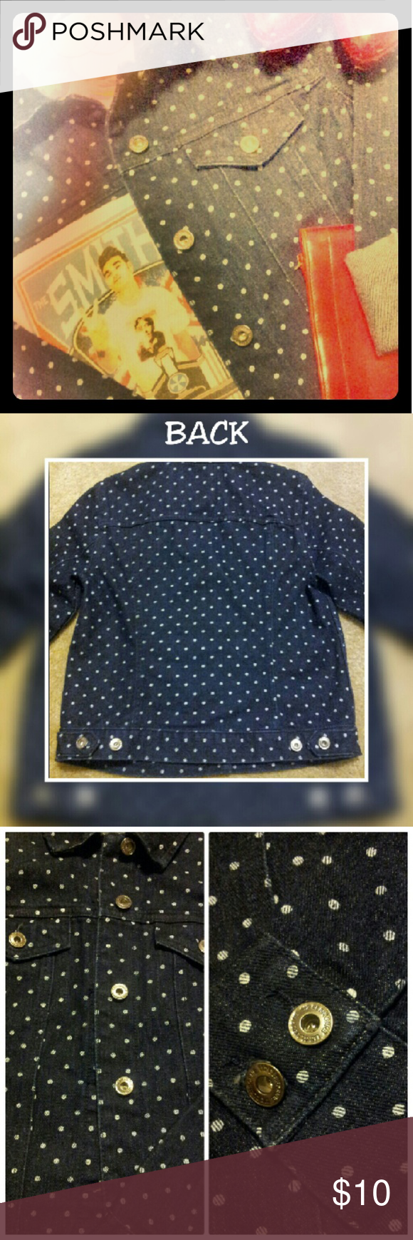 Liz Claiborne Jean Jacket w/ Polka Dots Dark blue with small white polka dots. Silver buttons. Only worn once. Just like new condition!!! Liz Claiborne. Liz Claiborne Jackets & Coats Jean Jackets
