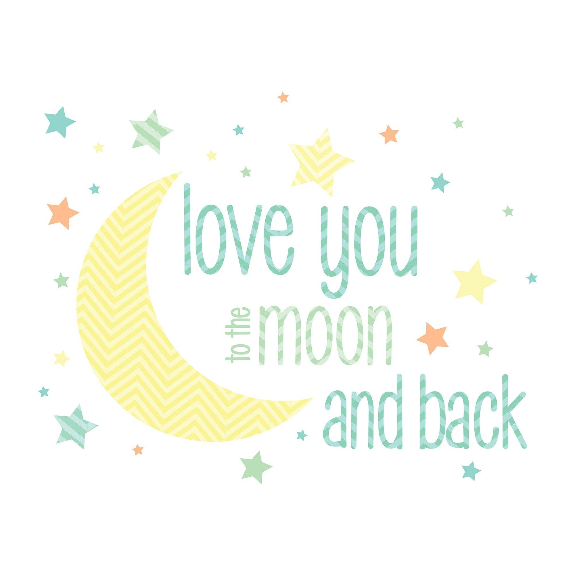 Wallpops i love you to the moon wall wishes yellowblue