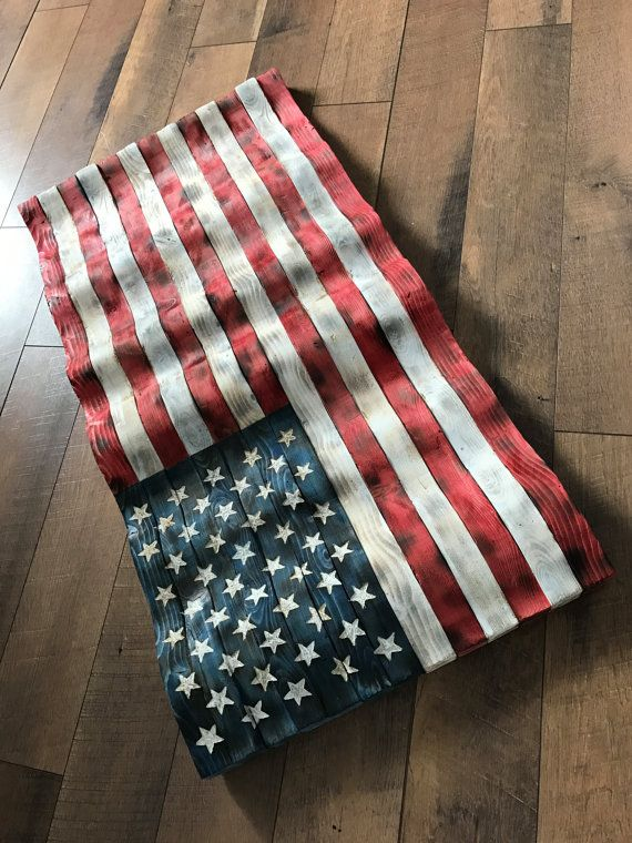 This Flying Wooden American Flag Is Hand Made Carved Stained Charred And