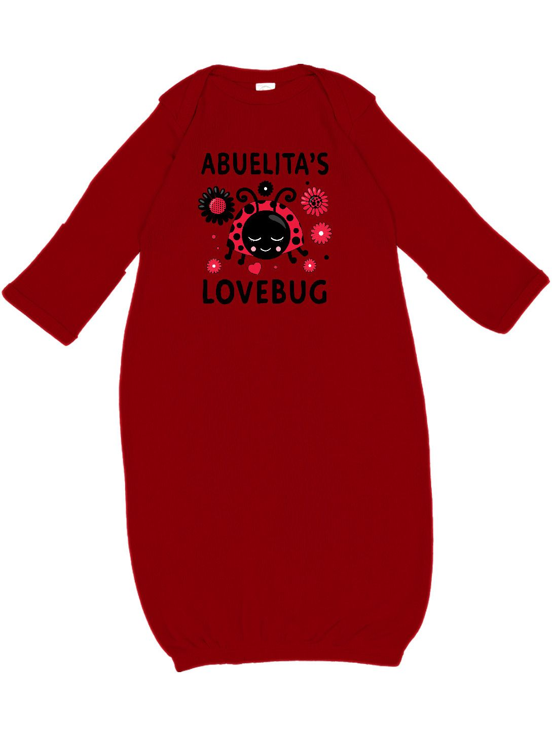 Adorable Valentine's Day Abuelita's Lovebug Newborn Layette with flowers. Cute Valentines Day themed baby shower gift for your granddaughter!