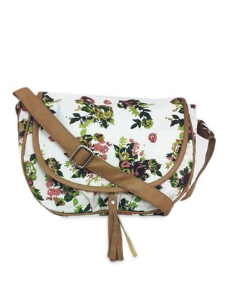 Buy Carry On Bags Cream Floral Printed Canvas Sling Online ...