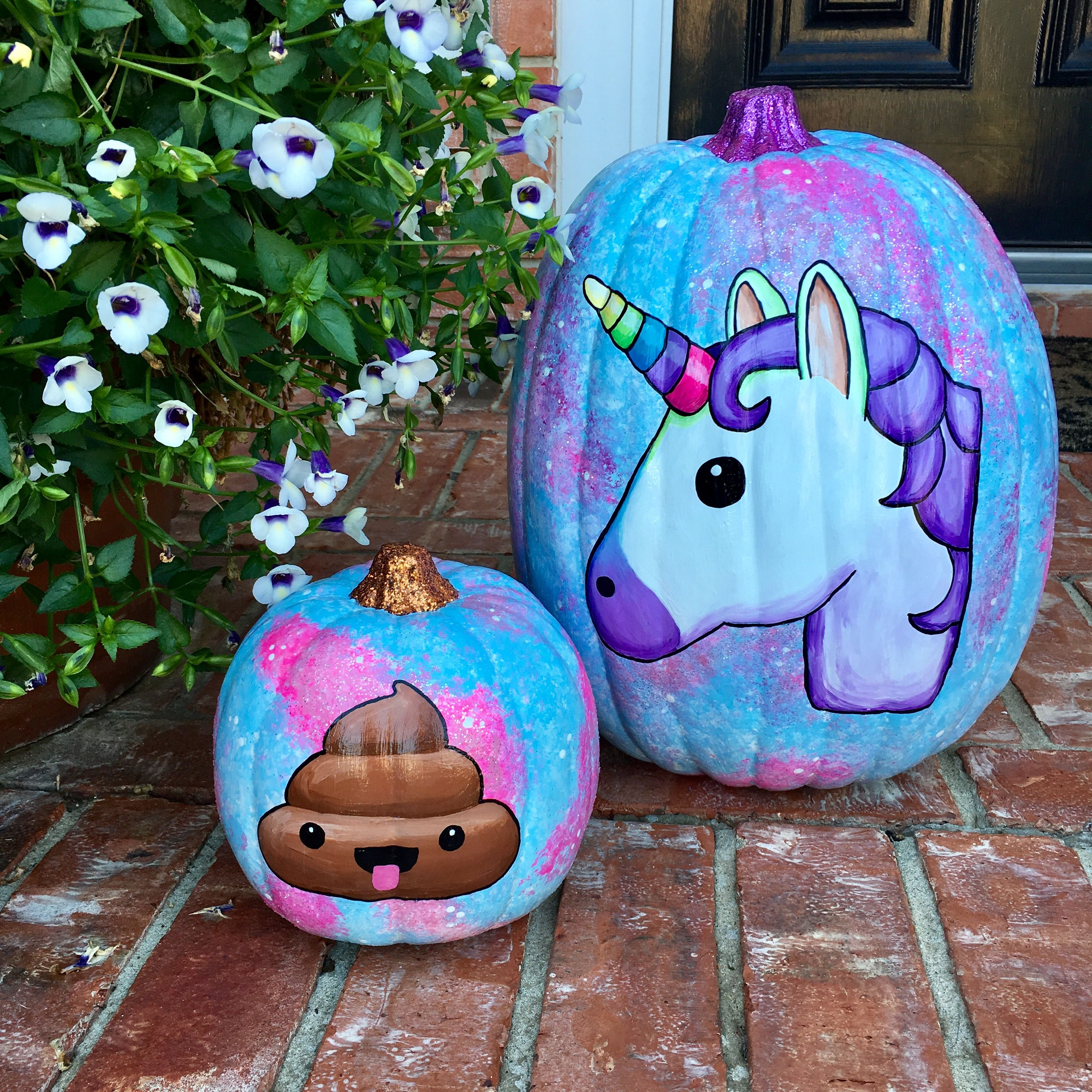 Galaxy unicorn and poop emoji pumpkins!