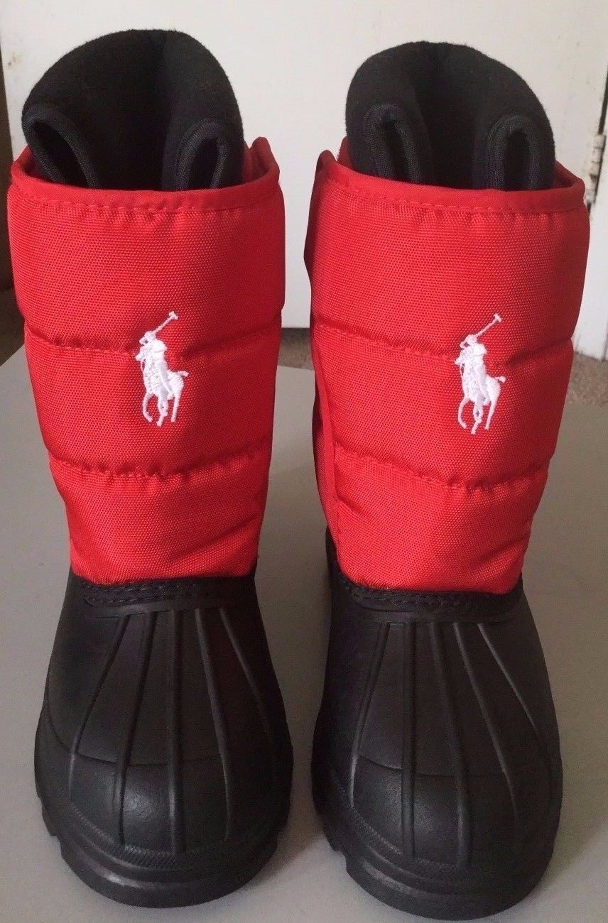 6d45bf2f5  55 free shipping Polo Ralph Lauren Girl s Hamilten II EZ Red Black Winter  Boots Shoes size 12