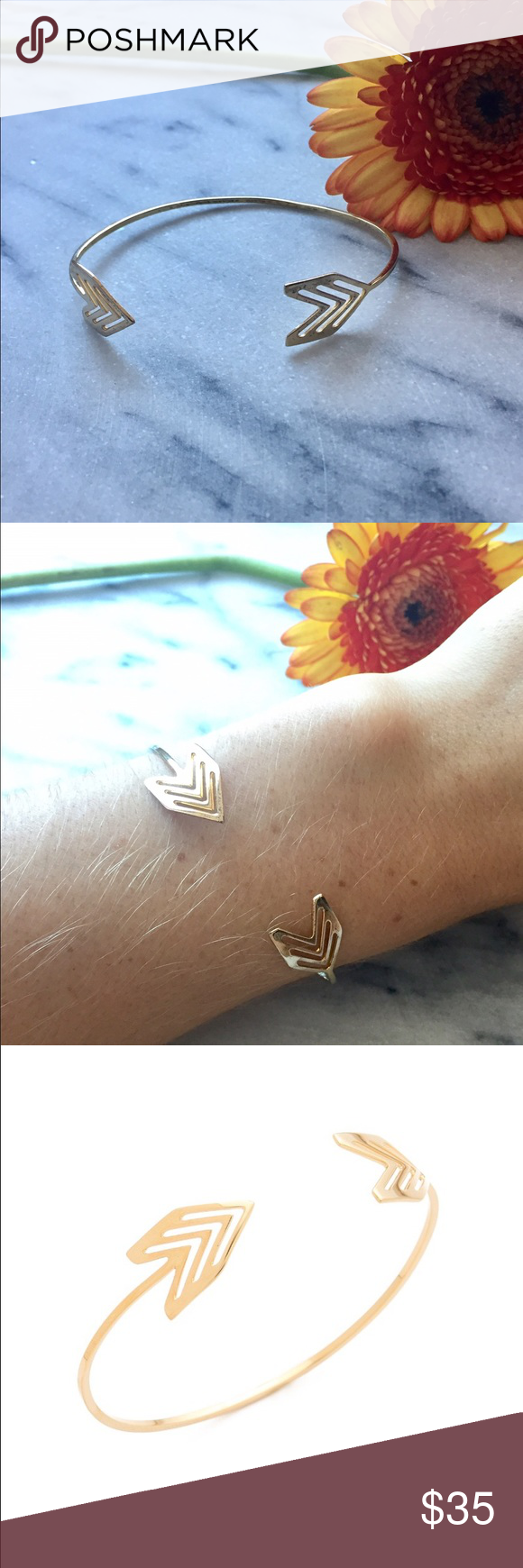 Gorjana Chevron Tribal Cuff Bracelet A delicate cuff from Gorjana wraps the wrist with a playful arrow of chevron cutouts. Malleable. Gold plate. Imported, China.  MEASUREMENTS Diameter: 2.25in / 5.5cm Gorjana Jewelry Bracelets
