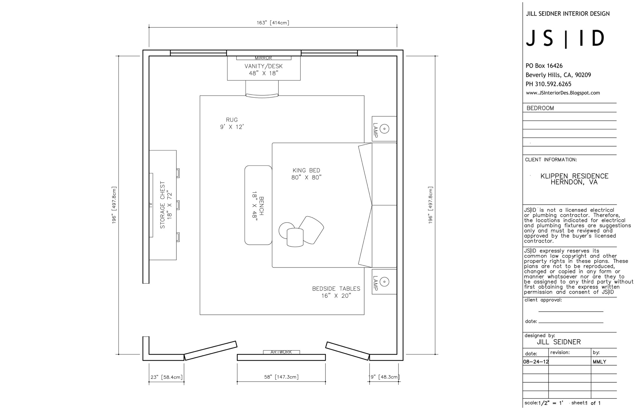 Herndon, Va Online Design Project, Master Bedroom Furniture Floor Plan