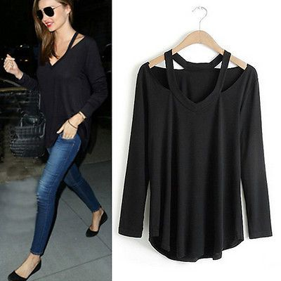 99677045a0bafd #Priceabate Women Cotton Soft Long Sleeve V Neck Loose Solid Casual T-Shirt  Tee Tops Blouse - Buy This Item Now For Only: $5.99