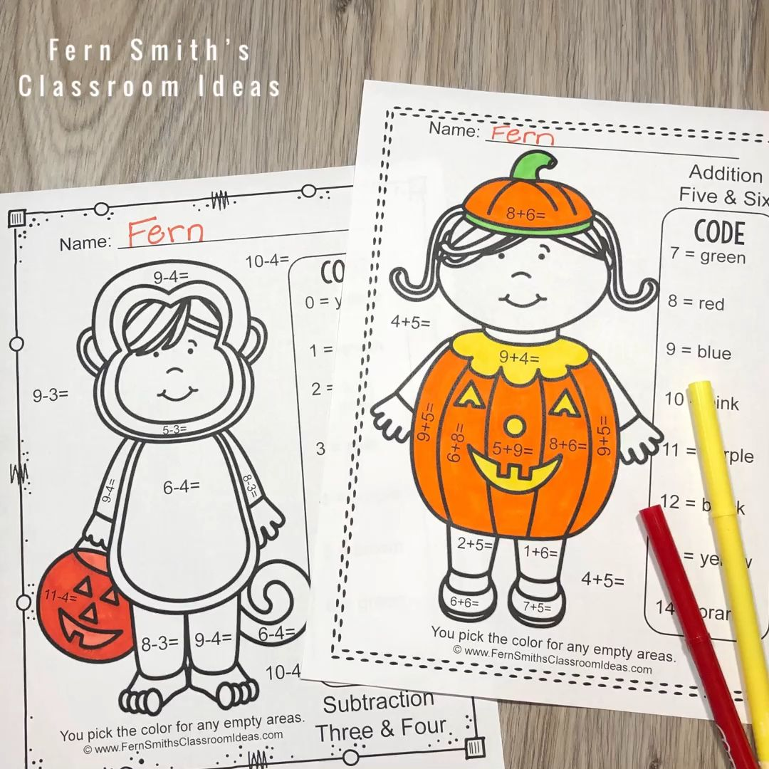 13 Halloween Subtraction Color By Number Worksheets Edea