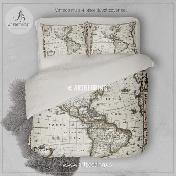 Vintage world map bedding 1626 antique map of north and south vintage world map bedding 1626 antique map of north and south america duvet cover set steampunk old map comforter set gumiabroncs Gallery