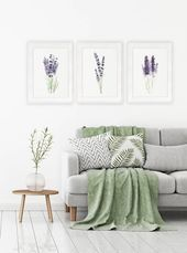#art #botanical #Canvas #decor #Green #Herbs #illustration #Images #Lavender #Living #Painting #plant #Print #Prints #purple #room #Set #Watercolor