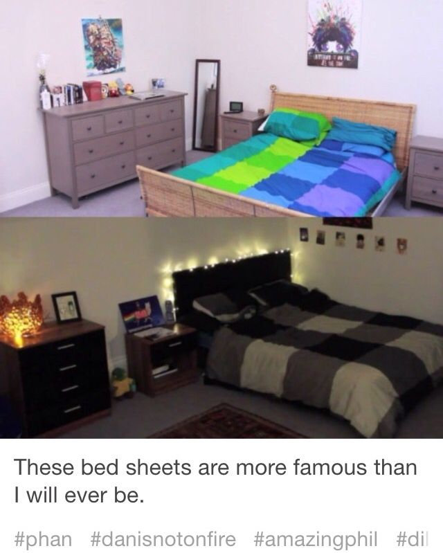 But can we just take a second and wonder how their bed sheets can represent their personalities so good?