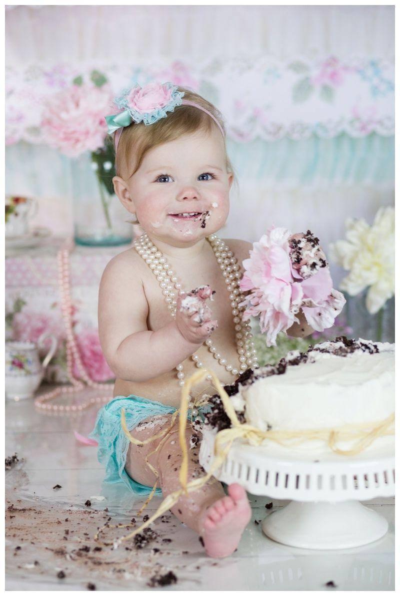 Melanie Bennett Photography Shabby Chic Cake Smash 1 Year Photos