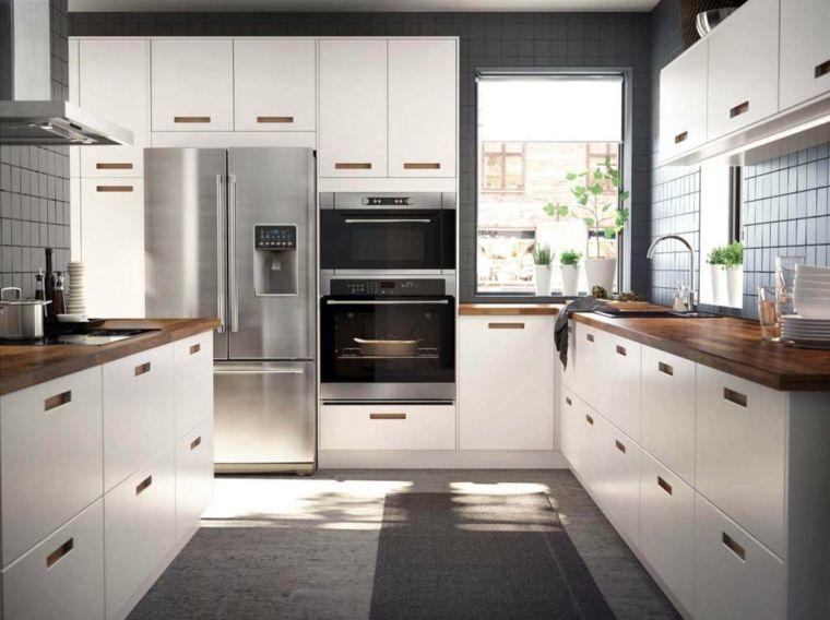 mobili-cucina-ikea-pavimento-grigio-top-legno-frigo-incasso ...