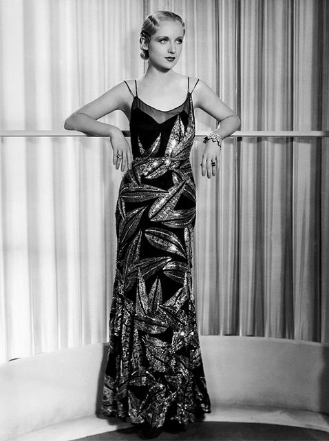 Carole Lombard/ asymmetric soft rounded geometric print- the look is very contemporary