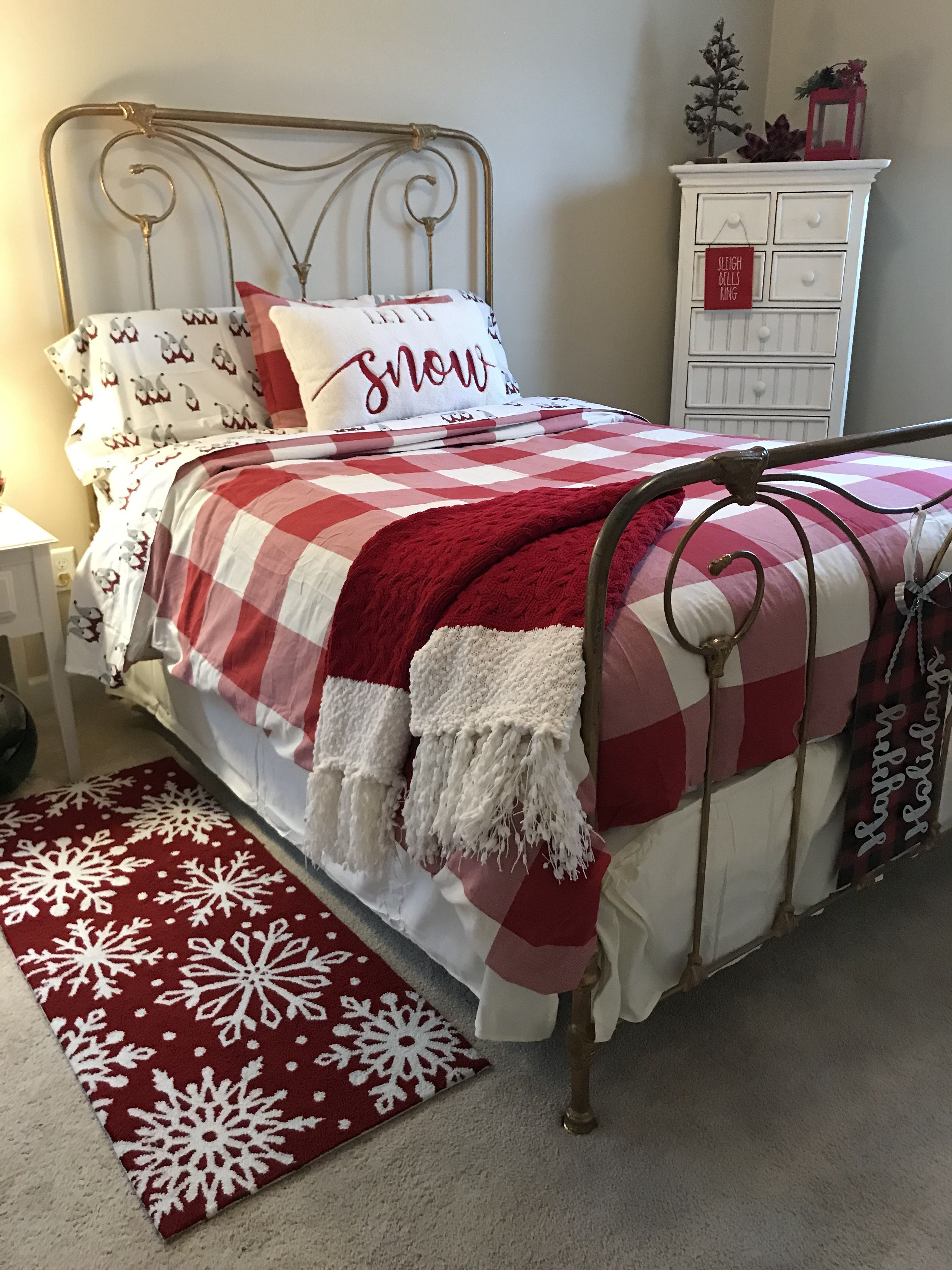 Added Pottery Barn duvet and gnome bedding for Christmas