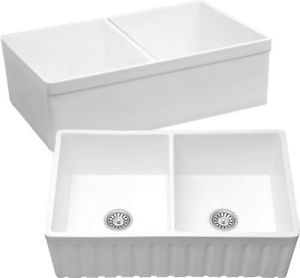 Mitrani Oxford DB 33u0027u0027 Double Bowl Titan Quartz Farmhouse Kitchen Sink  White | EBay