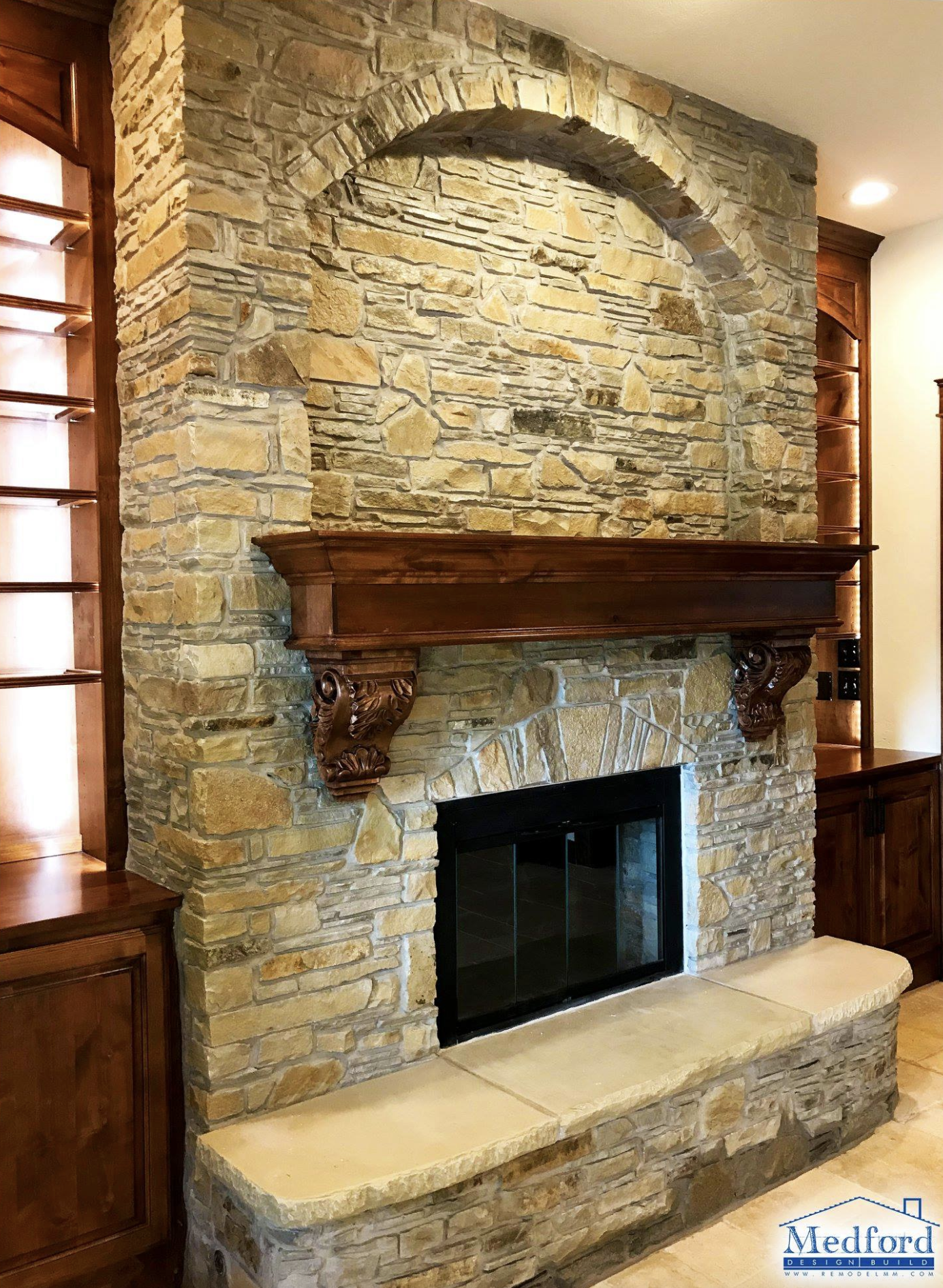 Beautiful Stone Fireplace Custom Mantel And Built In Book