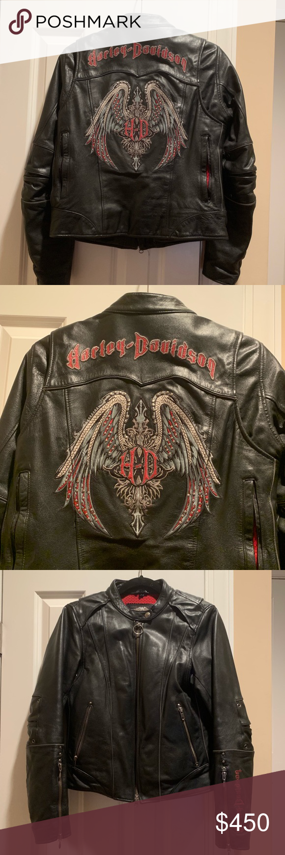 Rare Harley Davidson Road Angel Leather Stud Wings Womens Black Leather Jacket Leather Jackets Women Clothes Design [ 1740 x 580 Pixel ]