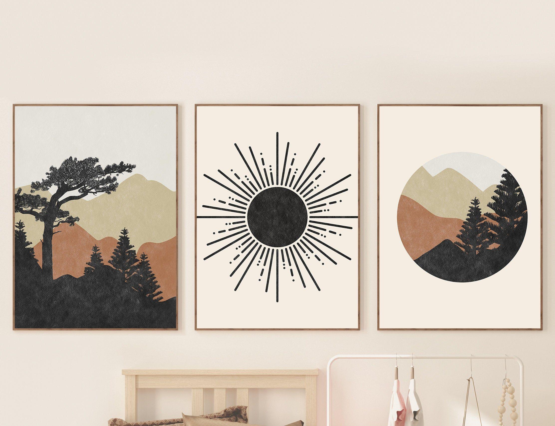 Abstract Mountain Print Set of 3 Prints, Mid century Modern Terracotta Black Mountain Print, Sun Abstract Landscape Geometric Wall Art Set