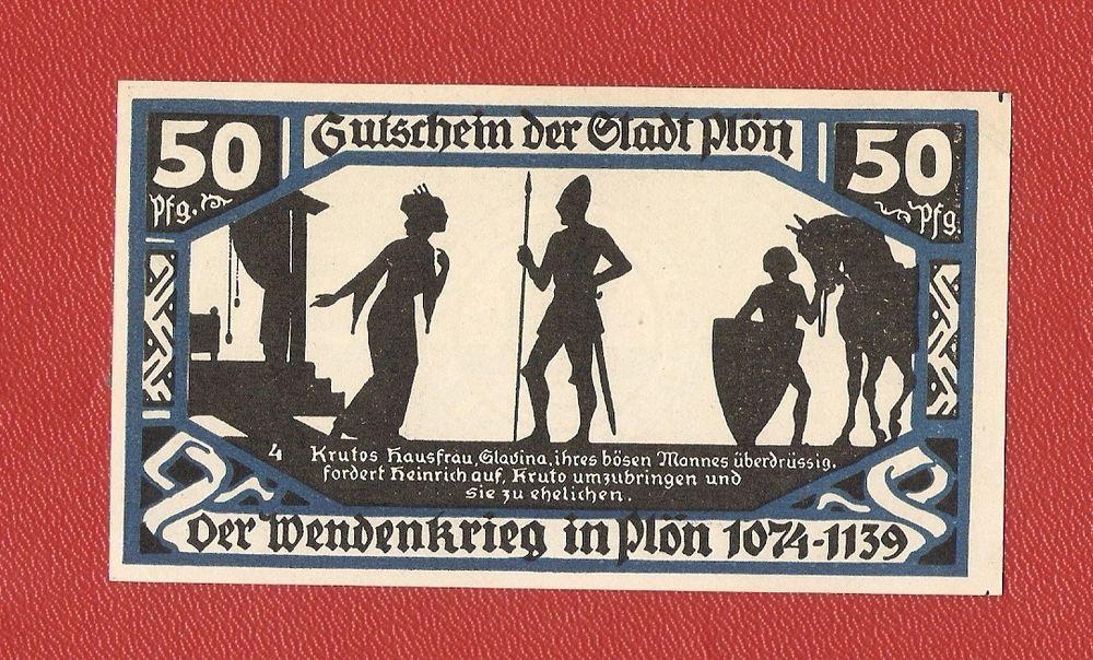 Germany Notgeld 50 pfennig 1921 Schleswig Holstein Plon blue #14
