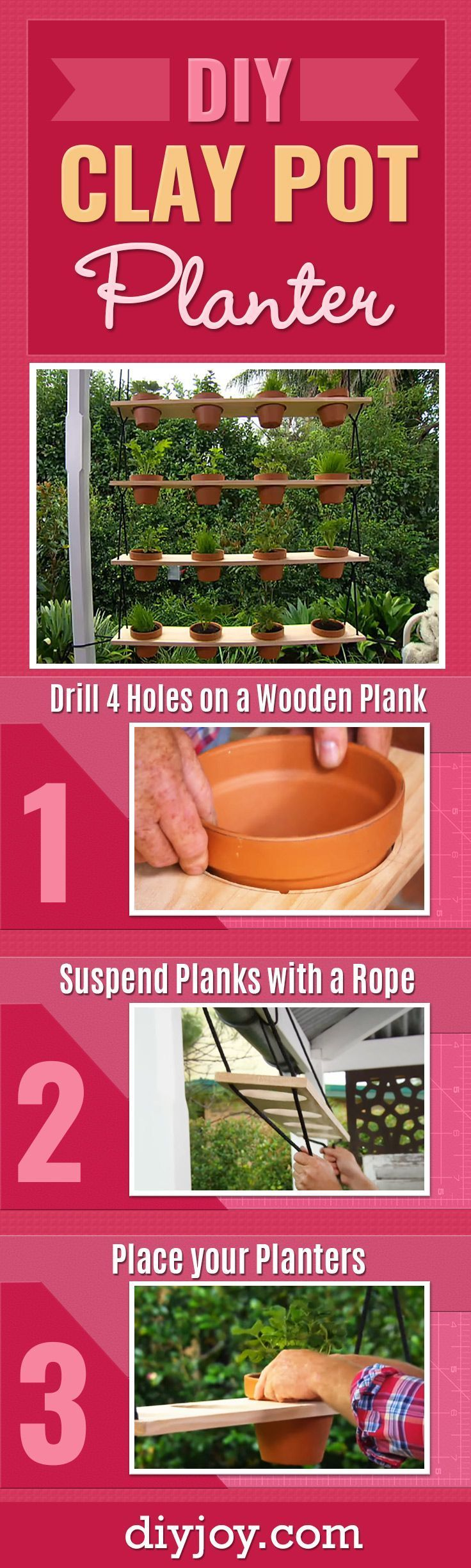 Genius planter idea to add something interesting to your backyard diy outdoors ideas do it yourself clay pot planter is an easy backyard project for solutioingenieria Images