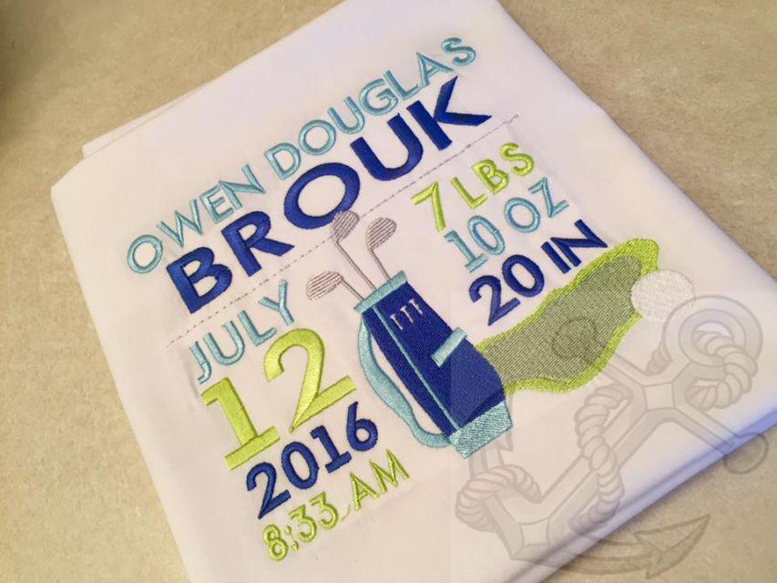 birth announcement golf theme design machine embroidery. Black Bedroom Furniture Sets. Home Design Ideas