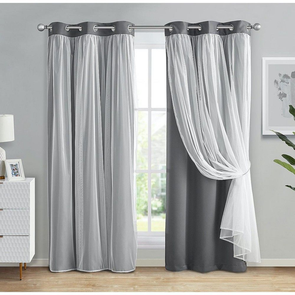 Kate Aurora Double Layered Hotel Chic Sheer Blackout Curtains Gray In 2021 Grey Curtains Layered Curtains Blackout Curtains