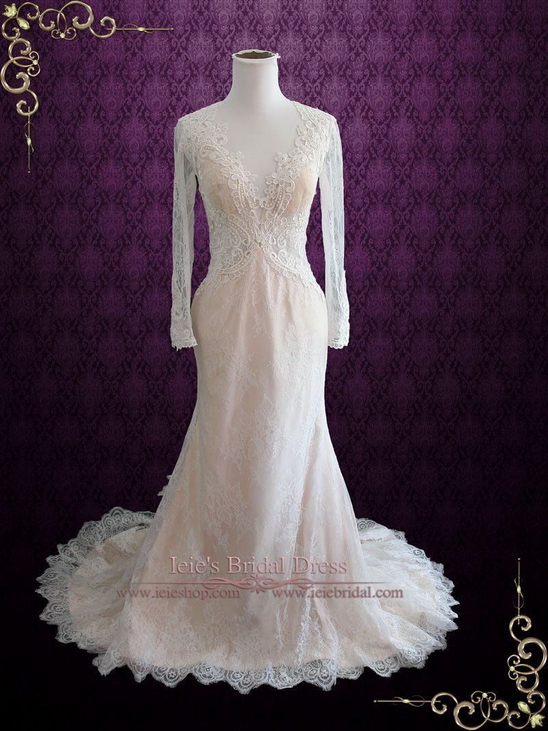 Vintage lace champagne wedding dress  Vintage Style Keyhole Lace Wedding Dress with Plunging Neckline and