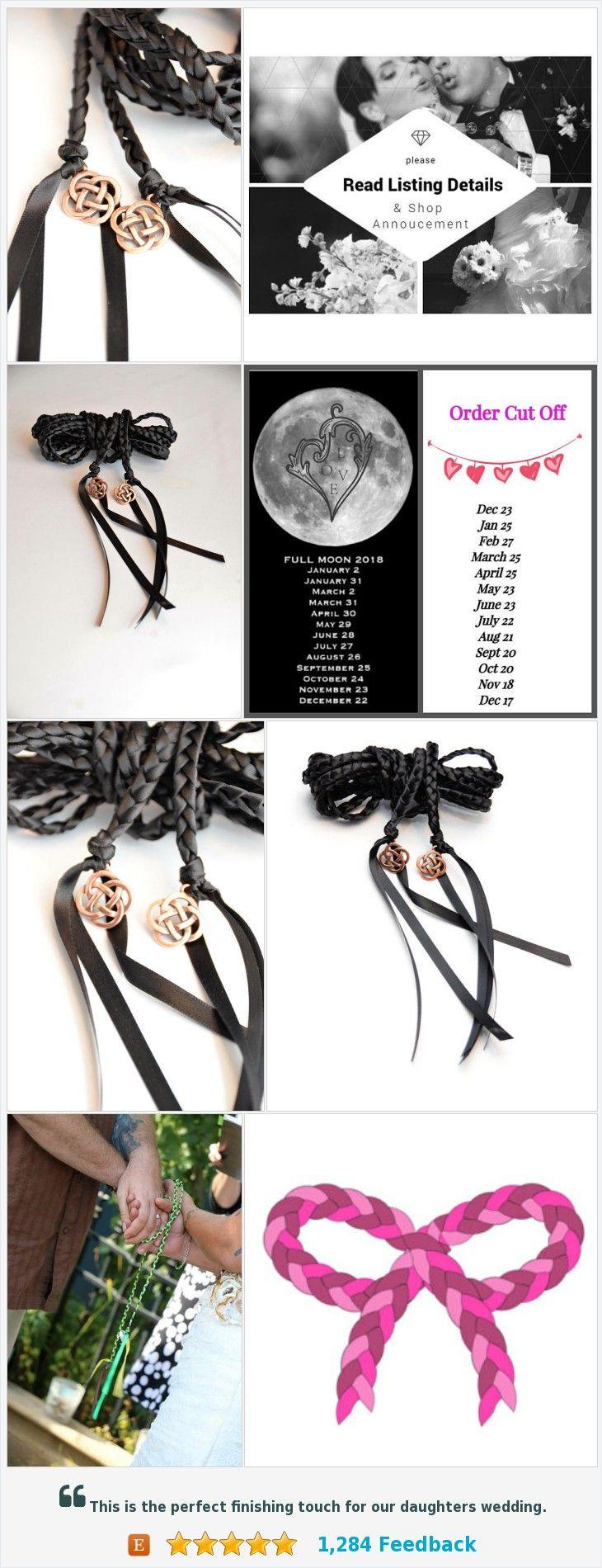 Black Celtic Knot Wedding Handfasting Cord Divinity Braid Ceremony Vows