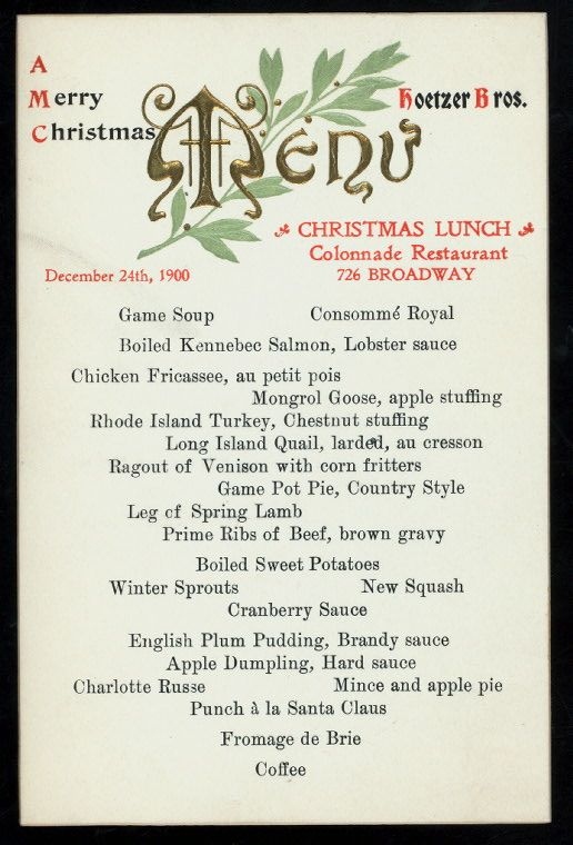 COLONNADE RESTAURANT, 726 BROADWAY, NY, Christmas Lunch 1900
