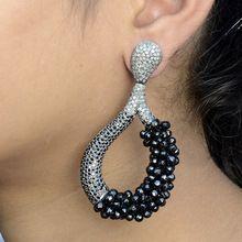 Pave Diamond Earrings, Black Spinel Earrings, Diamond Gemstone Jewelry, Christmas Special Earrings One Day Shipping