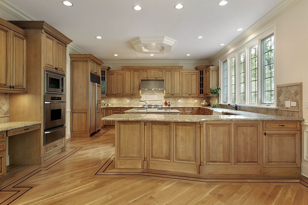 Blond Country Style Kitchen Cabinets | Brown kitchen ...