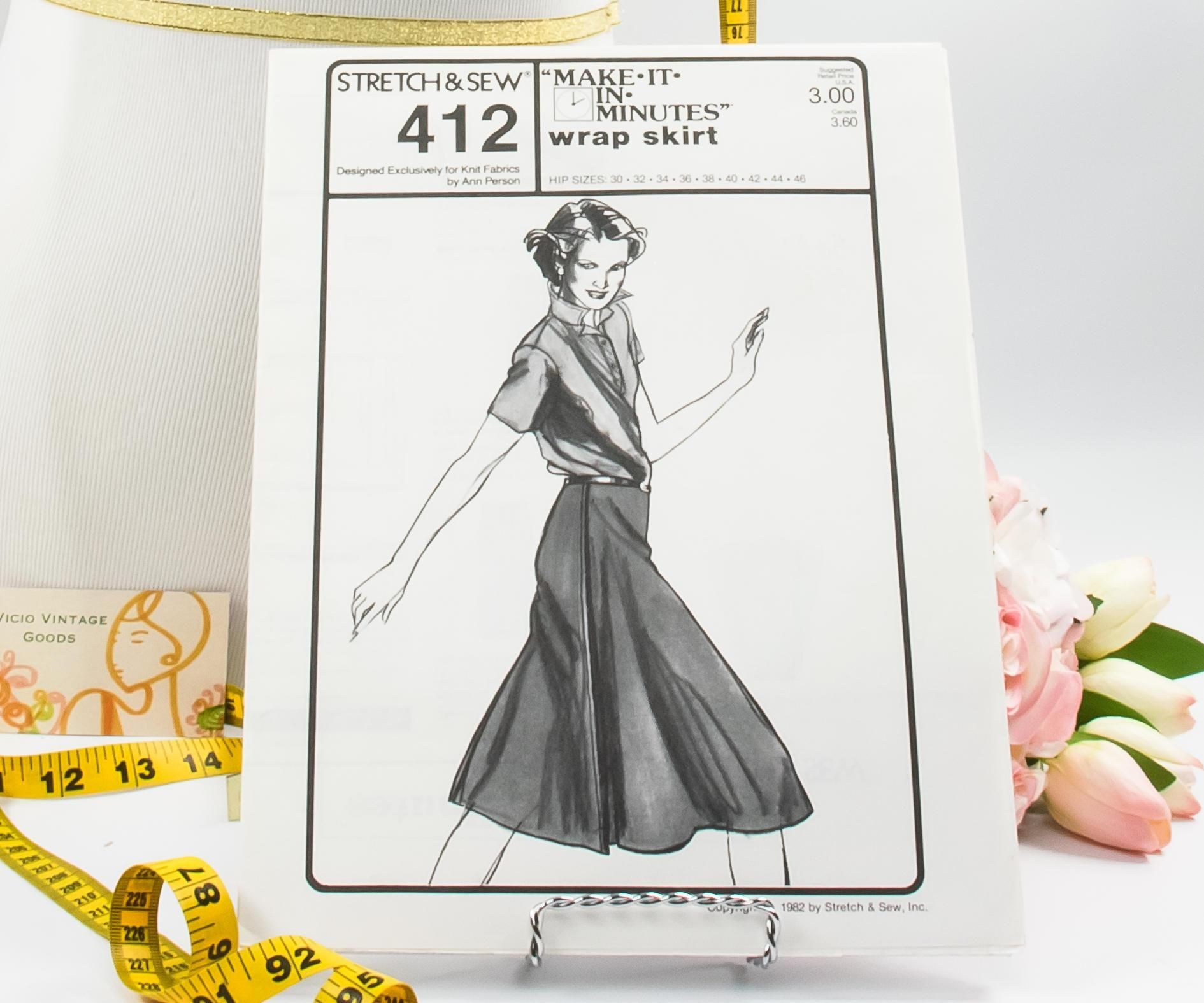Wrap Skirt - Pattern 412 - Vintage Sewing Pattern - Vintage Pattern ...
