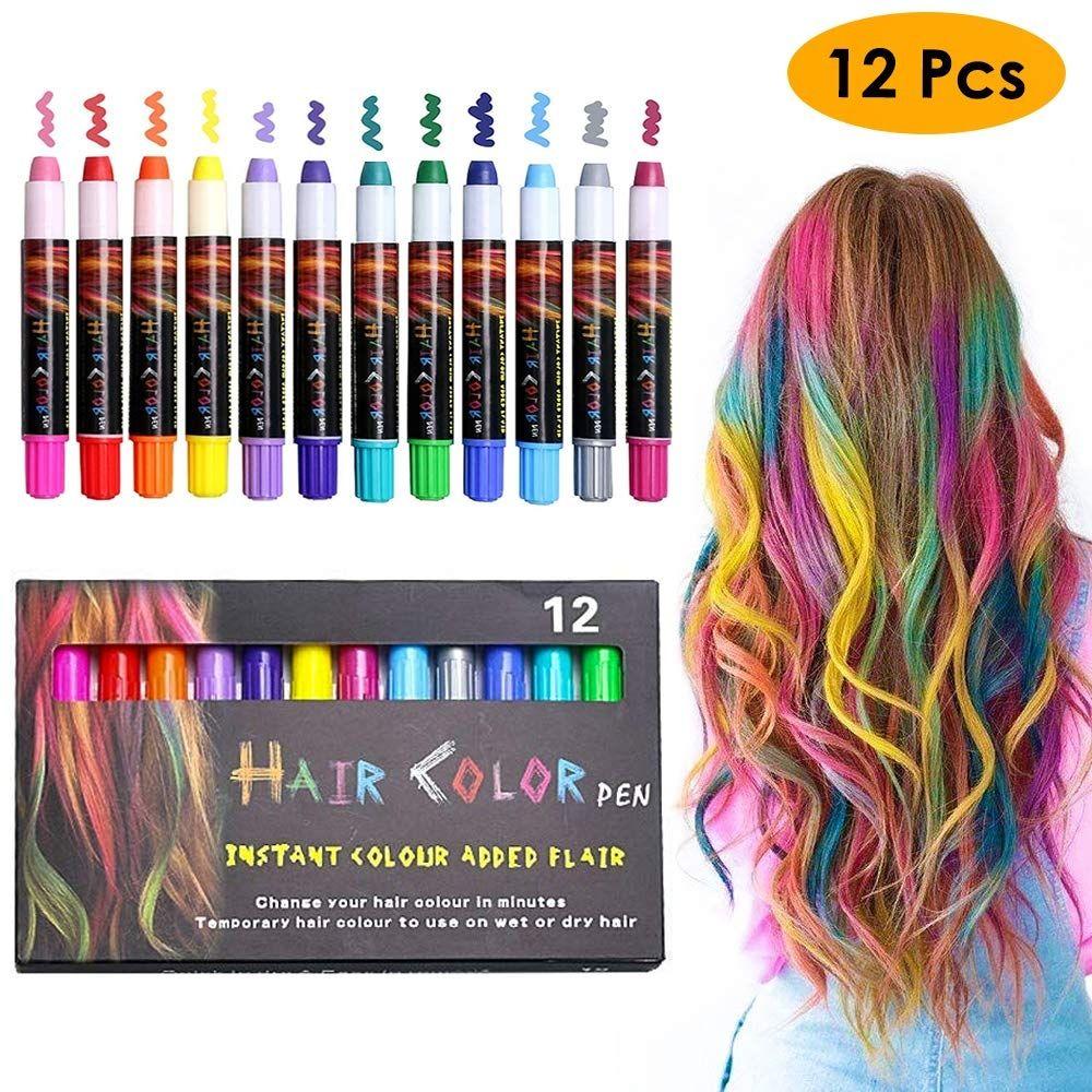 12 Color Temporary Hair Chalk Pens Crayon Salon Washable