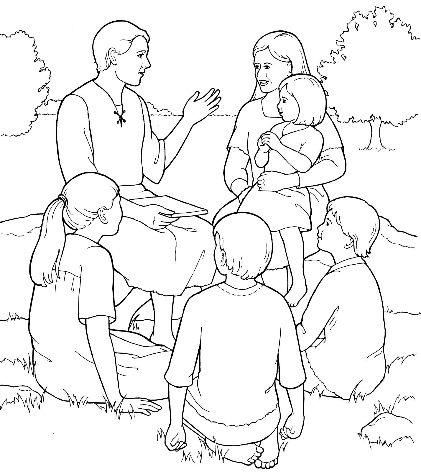 Adam And Eve Teaching Their Children Fun Primary Coloring Page