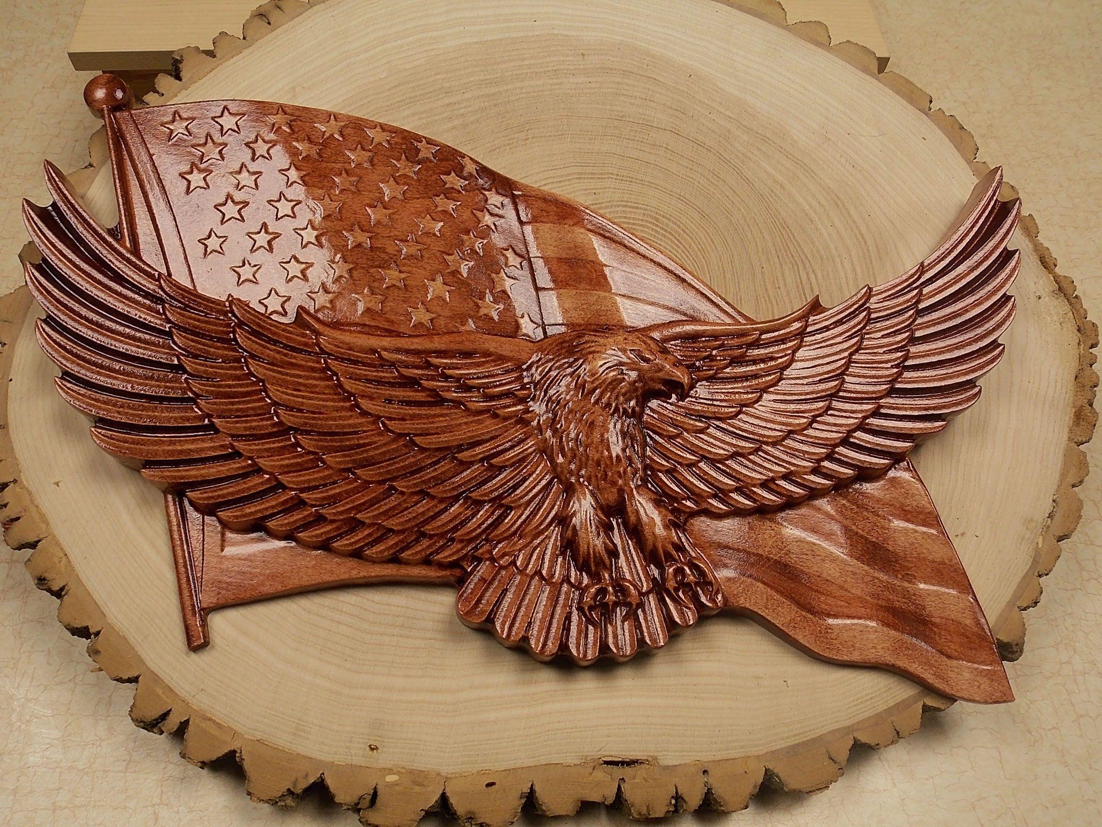 Wood bald eagle american flag carving my favorite