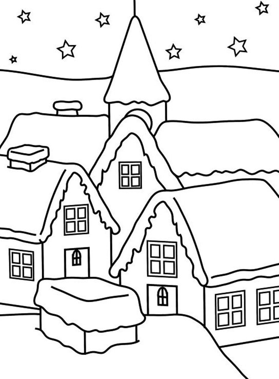 Download and print house of winter coloring pages for kids