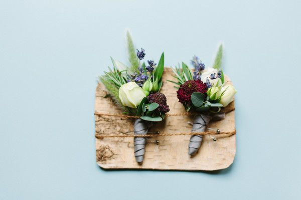 Unique + modern groom's boutonniere idea - rosebuds, pincushions, lavender, and rosemary sprigs {Megan Clouse Photography}