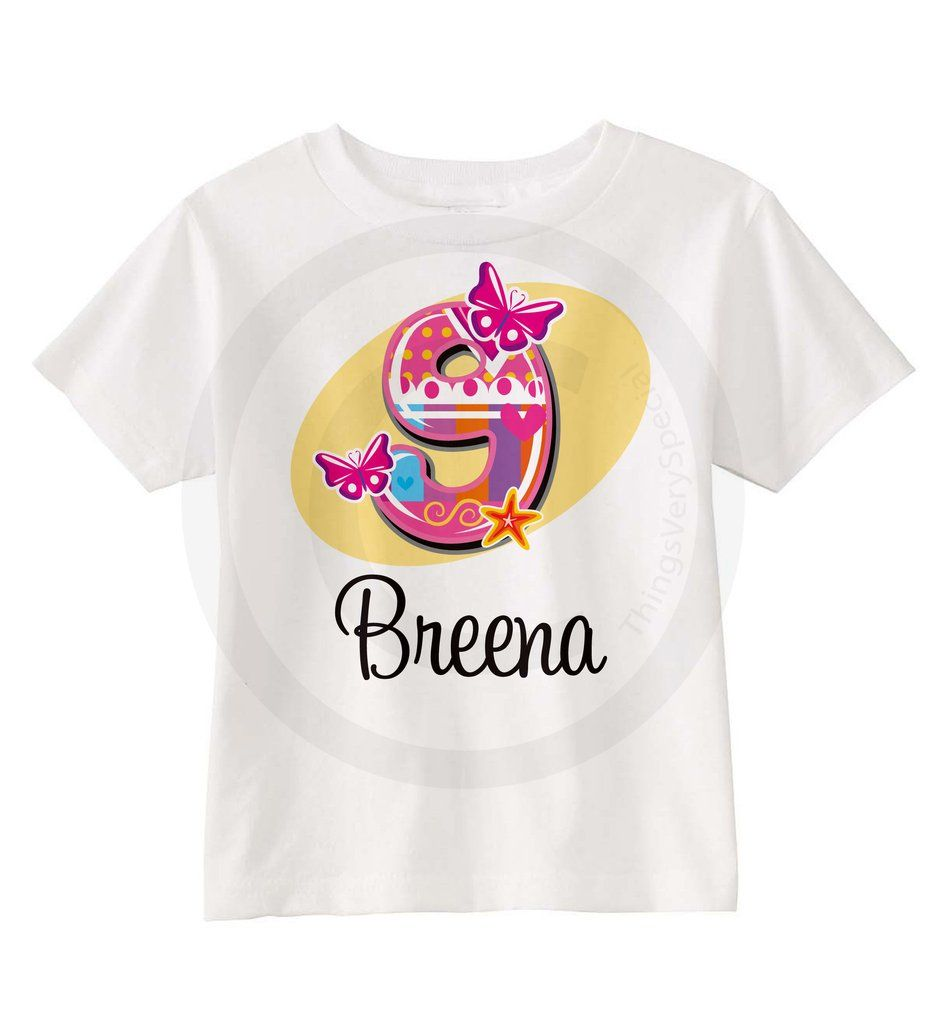 Girls Birthday Shirt With Fancy Number 09112013a 9 Year Old