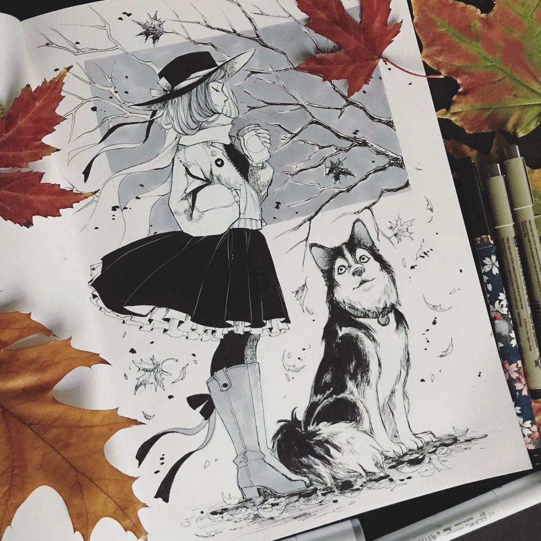 Day a girl and her husky sold inktober inktober