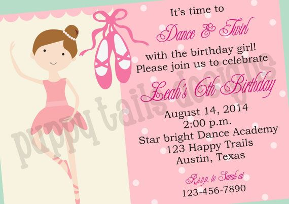 Ballerina Birthday Invitations