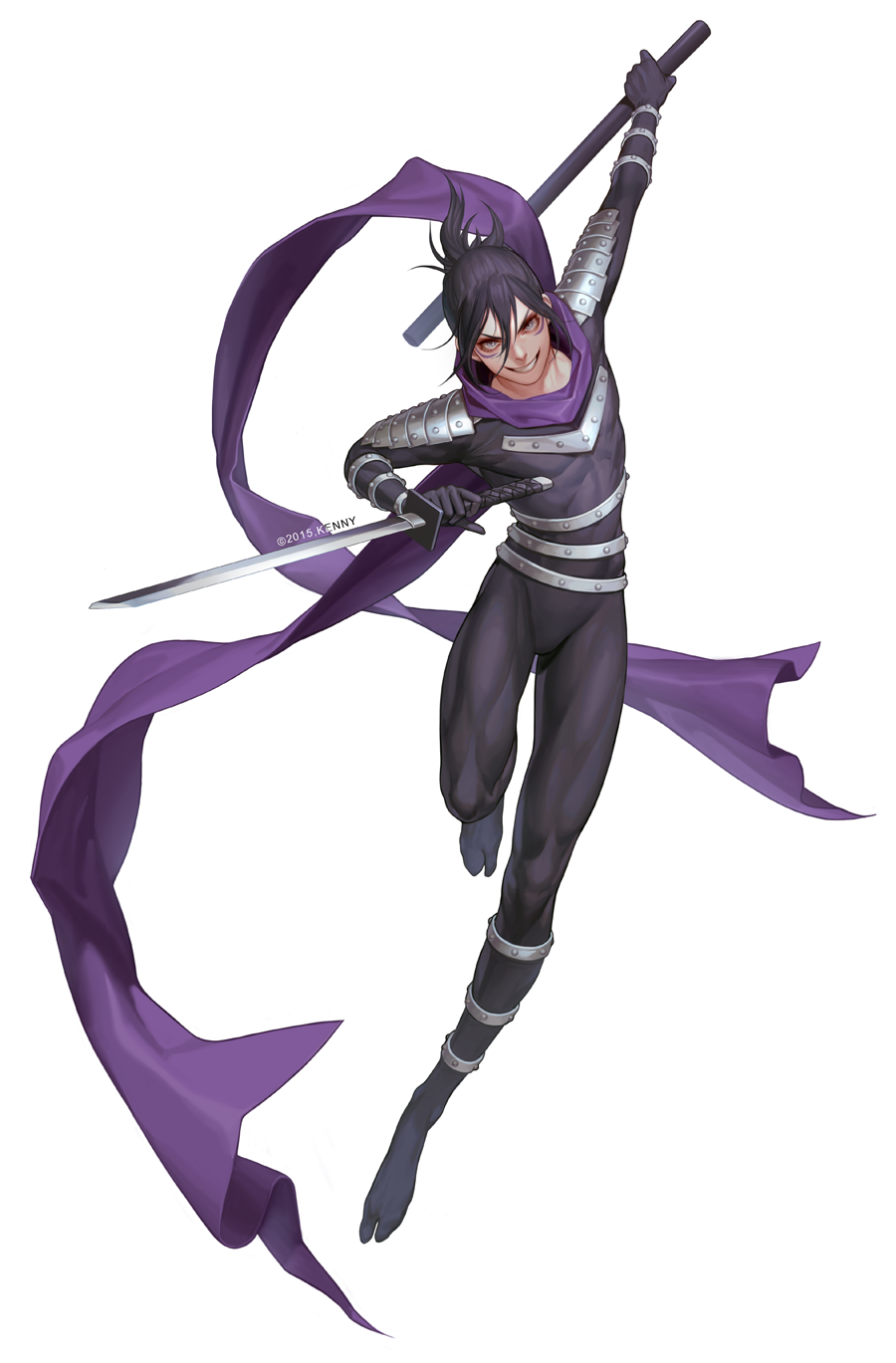1boy black_hair facial_mark folded_ponytail full_body grin highres kenny_(poe90) male_focus ninja onepunch_man onsoku_no_sonic scarf single_thighhigh smile solo sword thigh-highs weapon