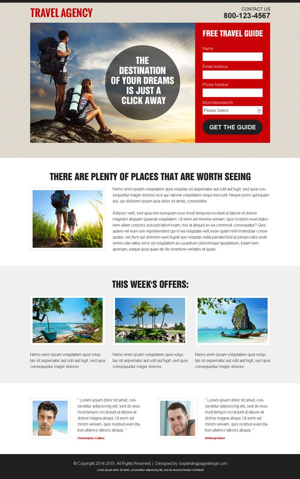 Travel Landing Page Design To Capture Lead And Boost Your Business Travel Agency Website Travel Agency Travel Website Design
