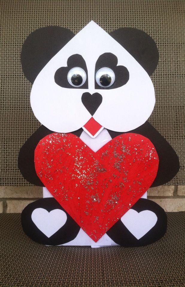 Panda Valentine S Day Box Valentine Card Box Girls Valentines Boxes Valentines Cards