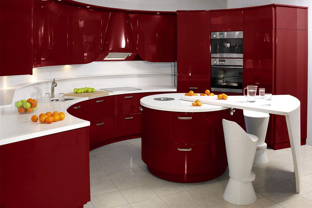 Antique contemporary kitchen in red and white Modern Kitchen