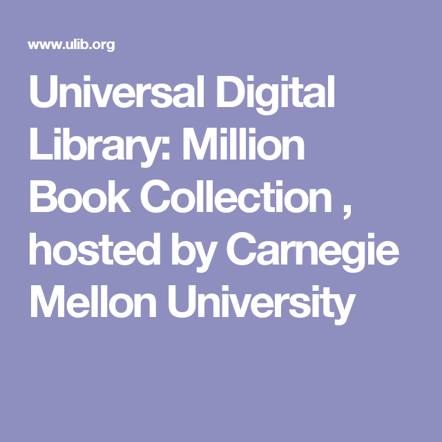 Universal Digital Library: Million Book Collection , hosted