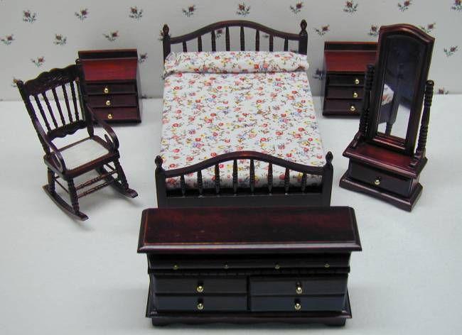 Walnut Bedroom Set 6pc Mary\u0027s Dollhouse Miniatures Awesome
